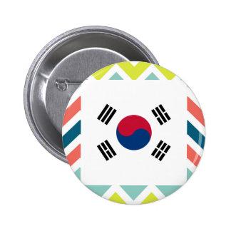 Caja de la bandera de la Corea del Sur en Chevron Chapa Redonda 5 Cm