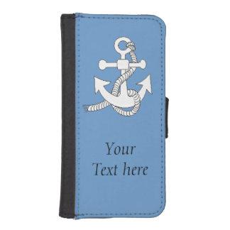 Caja de la cartera - ancla del barco con el texto carteras para teléfono