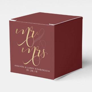Caja de lujo del favor del boda de Borgoña y del