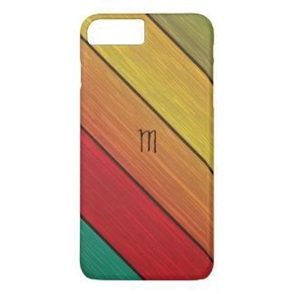 Caja de madera colorida del iPhone 7 del monograma Funda iPhone 7 Plus