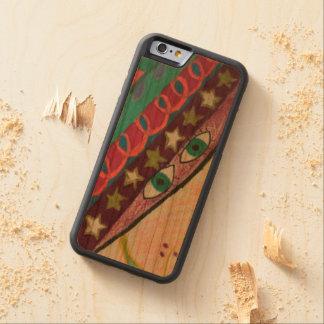 caja de madera de la cereza de parachoques del funda protectora de cerezo para iPhone 6 de carved