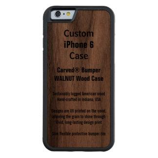 Caja de madera de parachoques del teléfono de la funda de iPhone 6 bumper nogal
