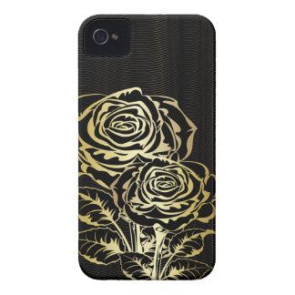 Caja de oro del iPhone 4 de los rosas de los pares iPhone 4 Case-Mate Coberturas