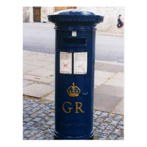 Caja de pilar británica del correo aéreo postales