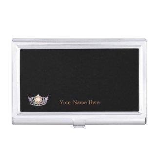 Caja de plata de la tarjeta de visita de la corona