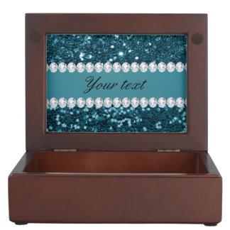 Caja De Recuerdos Brillo azul y diamantes del trullo oscuro falso