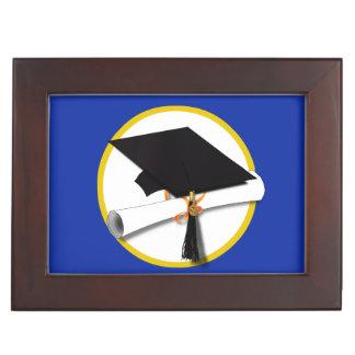 Caja De Recuerdos Casquillo w/Diploma - fondo azul marino de la