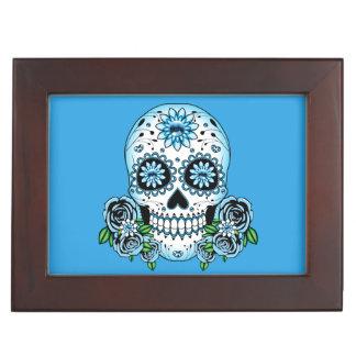 Caja De Recuerdos Cráneo azul del azúcar