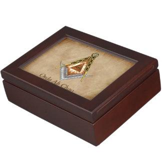 Caja De Recuerdos Cuadrado y compás dibujados mano con todo el ojo