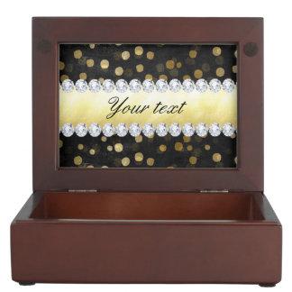 Caja De Recuerdos Diamantes negros del confeti del oro de la pizarra