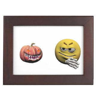 Caja De Recuerdos Emoticon amarillo o smiley de Halloween