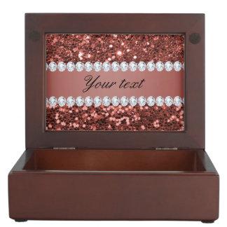 Caja De Recuerdos Falso brillo y diamantes del oro color de rosa