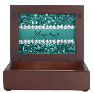 Caja De Recuerdos Falso brillo y diamantes del trullo elegante