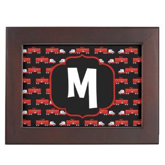 Caja De Recuerdos Firetruck inicial rojo y negro del coche de