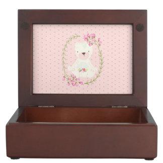 Caja De Recuerdos Guirnalda floral y corazones del oso lindo
