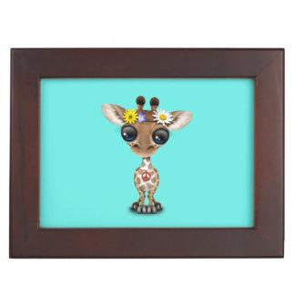 Caja De Recuerdos Hippie lindo de la jirafa del bebé