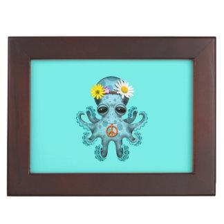 Caja De Recuerdos Hippie lindo del pulpo del bebé azul