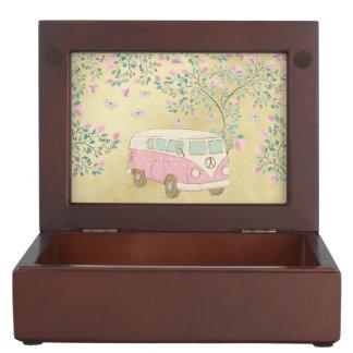 Caja De Recuerdos Hippy Van Butterflies y oro del flor