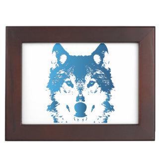Caja De Recuerdos Lobo de los azules claros del ilustracion