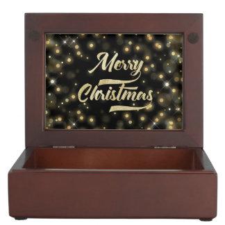 Caja De Recuerdos Negro del oro de Bokeh del brillo de las Felices