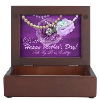 Caja De Recuerdos Púrpura y rosas y perlas del diamante de la