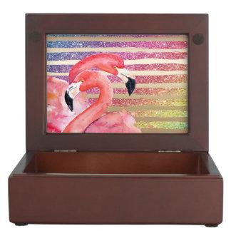 Caja De Recuerdos Rayas del oro del brillo de los flamencos de la
