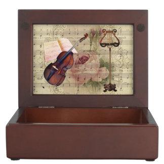 Caja De Recuerdos Soporte floral del violín y de música de la