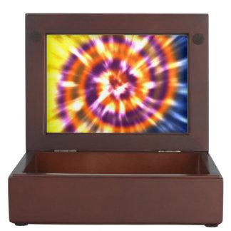 Caja De Recuerdos Teñido anudado retro Boho colorido de la paz del