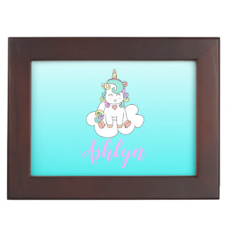 Caja De Recuerdos Unicornio feliz mágico místico en un nombre de la