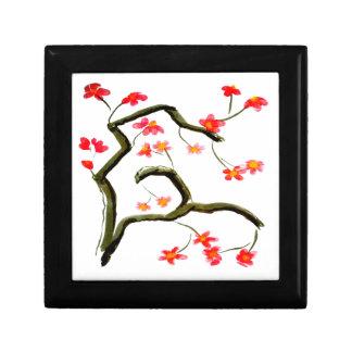 Caja De Regalo Acento rojo de las flores de cerezo