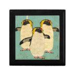 Caja de regalo azul de la laguna de los pingüinos