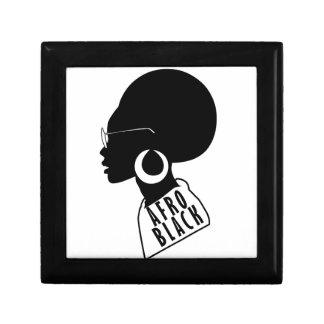 Caja De Regalo Camiseta negra afroamericana del regalo del AFRO