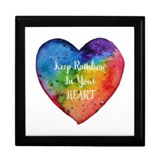 Caja De Regalo Corazón lindo del arco iris de la acuarela