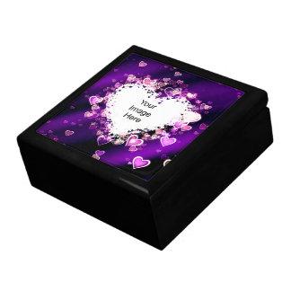 Caja de regalo de la plantilla de la foto del cora