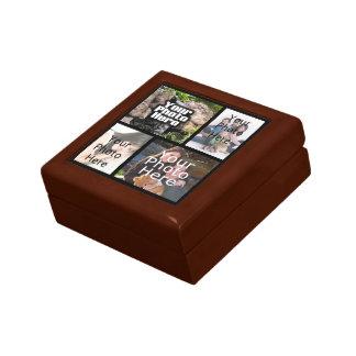 Caja de regalo de madera de la foto del collage joyero cuadrado pequeño
