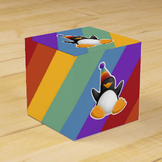 Caja de regalo del arco iris del pingüino del