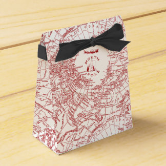 Caja de regalo del mapa de Polo Norte Santa