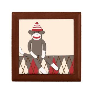 Caja de regalo del mono del calcetín de Argyle