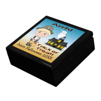 Caja de regalo del muchacho del pirata de joyero cuadrado grande
