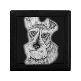 Caja De Regalo Dibujo del arte del perro del Schnauzer