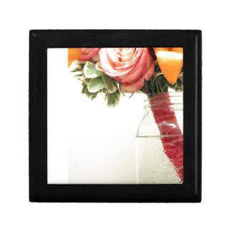 Caja De Regalo el boda florece personalizar anaranjado rosado del