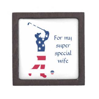 Caja De Regalo Golfista de la bandera americana del golf de los
