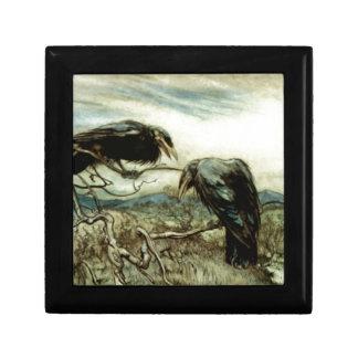 Caja De Regalo Ilustracion de dos cuervos