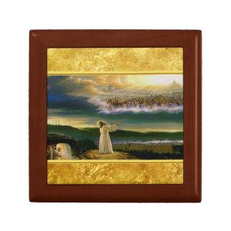 Caja De Regalo Jesús en el diseño de la textura del oro de la