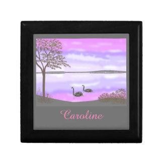 Caja De Regalo La escena hermosa del lago de los cisnes, añade