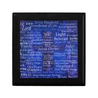 Caja De Regalo Los nombres del arte cruzado azul del Jesucristo