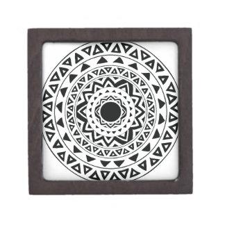 Caja De Regalo Mandala tribal de los círculos en blanco y negro