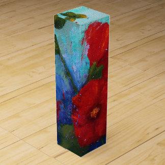 Caja de regalo roja del vino de los Hollyhocks