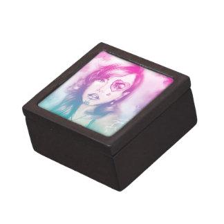 Caja de regalo rosada y azul colorida de la señora