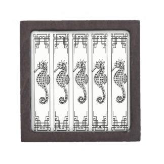 Caja De Regalo Seahorse blanco y negro - ilustracion gráfico